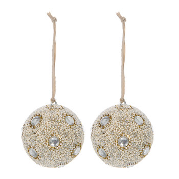 Beaded with Crystals Bauble - Set of 2