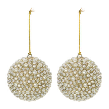 Pearl Beaded Bauble - Set of 2 - Gold/Cream