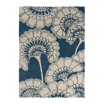 Japanese Floral Rug - Midnight