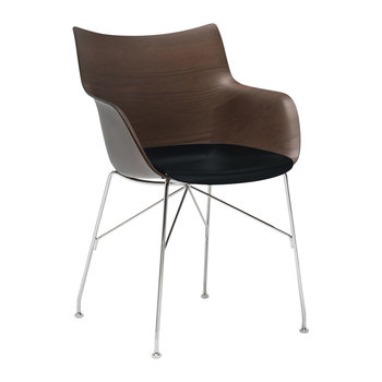 Q/Wood Armchair - Dark Wood/Black/Chrome