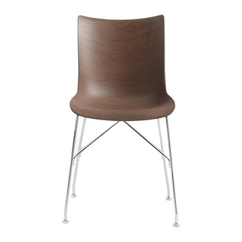 P/Wood Armchair - Dark Wood/Chrome