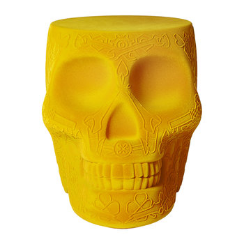 Mexico Skull Velvet Stool/Side Table - Dark Gold