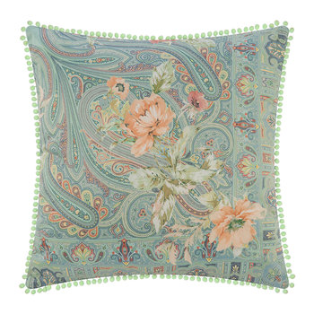 Poitiers Clain Cushion with Trims - 60x60cm - Blue/Coral