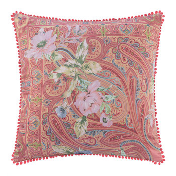 Poitiers Clain Pillow with Trims - 60x60cm - Pink/Green