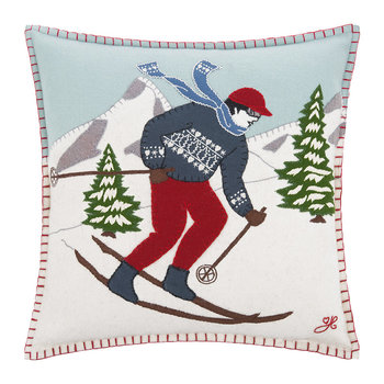 Brunette Skier Man Pillow