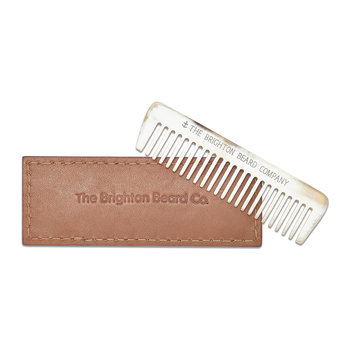 Ox Horn Beard Comb With Leather Sheath