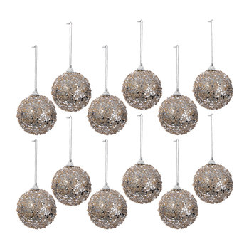 Glitter Bauble - Set of 12 - Cashmere Brown