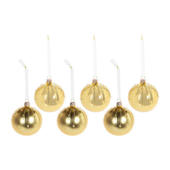 Glitter Line Drops Bauble - Set of 6 - Light Gold