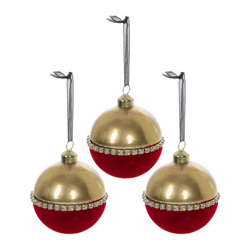 Flocked with Diamante Bauble - Set of 3 - Christmas Red