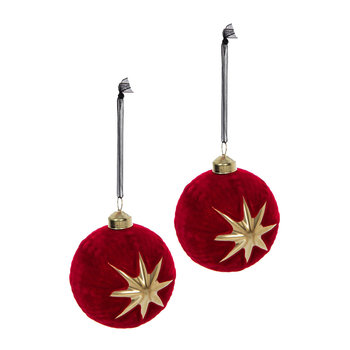 Gold Star Bauble - Set of 2 - Christmas Red