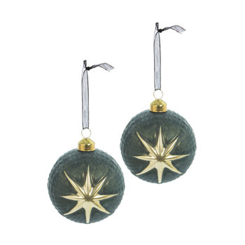 Gold Star Bauble - Set of 2 - Green
