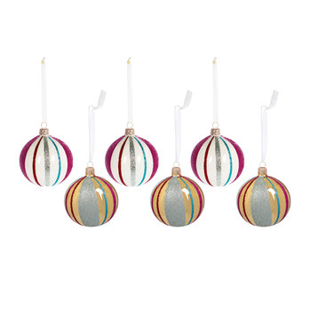 Glitter Lines Bauble - Set of 6 - Gold/White
