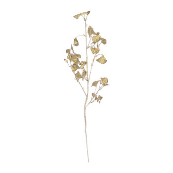 Ginkgo Leaf Metallic Artificial Stem - Gold