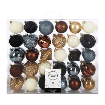 Set of 60 Baubles - Beige/Rosewood/Blue/Black/White