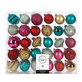 Set of 60 Baubles - Gold/Red/Pink/Turquoise
