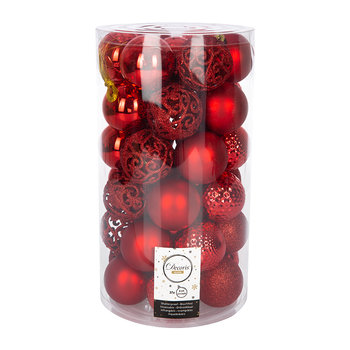 Set of 37 Assorted Baubles - Christmas Red