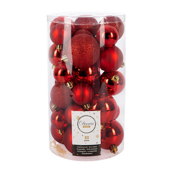 Set of 30 Assorted Baubles - Christmas Red