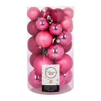 Set of 30 Assorted Baubles - Flashing Pink