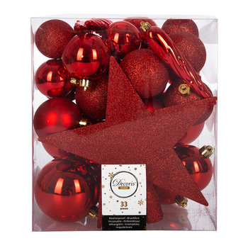 Set of 33 Assorted Baubles and Tree Topper - Christmas Red