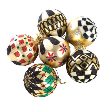 Boule de Noël Noir et Or - Lot de 6
