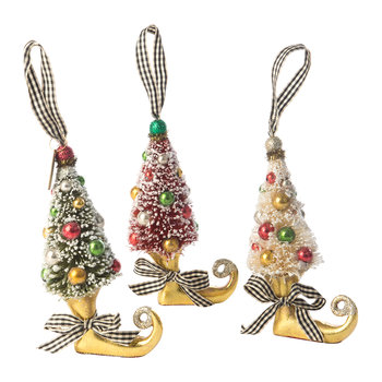 Deck the Halls Elf Boot Tree Decoration - Set of 3