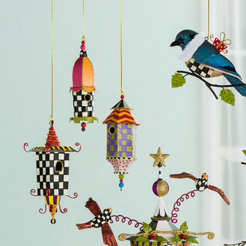 Birdhouse Tree Decoration - Set of 3