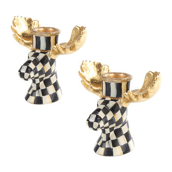 Courtly Check Moose Candlestick - Set of 2