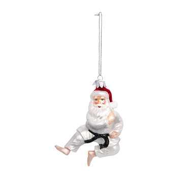 Glass Martial Arts Santa Tree Decoration