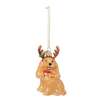 Cocker Spaniel with Antlers Tree Decoration - Golden
