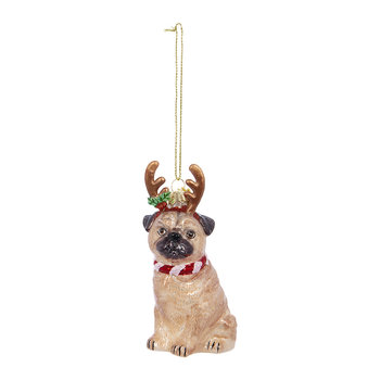 Pug with Antlers Tree Decoration
