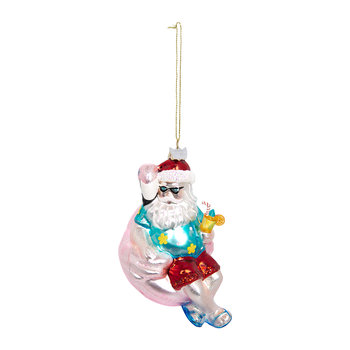 Santa on a Flamingo Floatie Tree Decoration