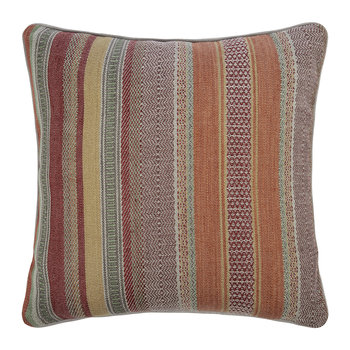 Rustic Stripe Cushion - Red/Plum - 45x45cm