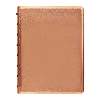 A5 Saffiano Metallic Notebook - Rose Gold