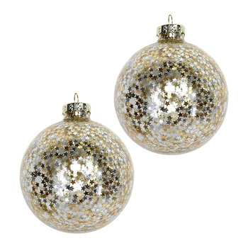 Stars Inside Bauble - Set of 2 - Gold/Silver