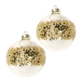 Crushed Sequin Band Bauble - Set of 2 - Gold