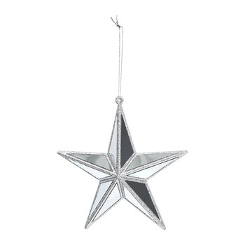 Silver Edge Mirror Star Tree Decoration - Set of 2