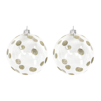 Glitter Polka Dot Bauble - Set of 2 - Gold
