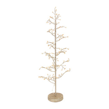 Glitter Wire Tree with Crystals and Lights - Gold