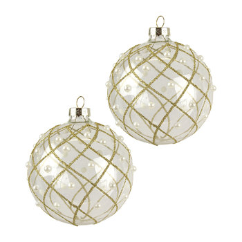 Glitter/Pearl Trellis Bauble - Set of 2 - Gold
