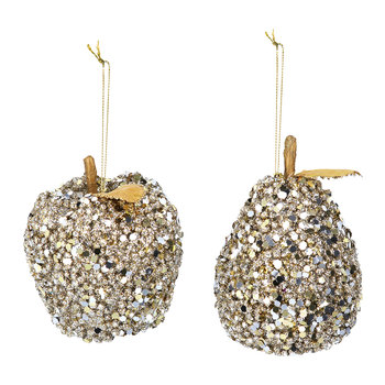 Sequin Apple and Pear Tree Decoration - Set of 2 - Gold