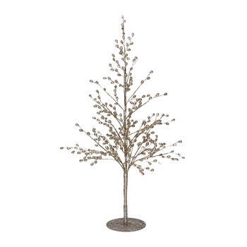 Wire/Crystal Tree Ornament - Gold