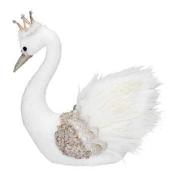 Fabric/Feather Swan Ornament - Cream/Gold
