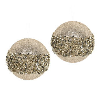 Glitter Bead Band Bauble - Set of 2 - Gold
