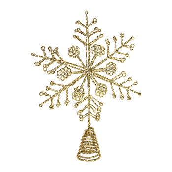 Glitter Wire Snowflake Tree Topper - Gold