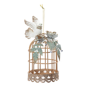 Wire Bird Cage with Dove Tree Decoration - Gold