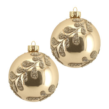 Beaded Leaf Spiral Bauble - Set of 2 - Gold