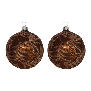 Glitter Ferns Bauble - Set of 2 - Antique Chocolate