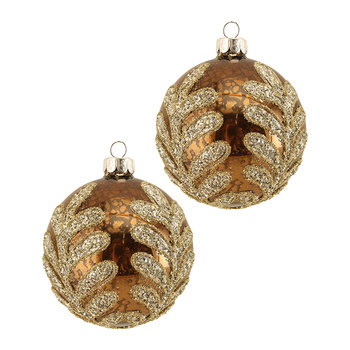 Crushed Gold Leaves Bauble - Set of 2 - Antique Copper