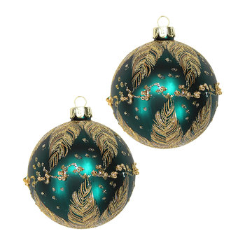 Gold Feathers Matt Bauble - Set of 2 - Teal