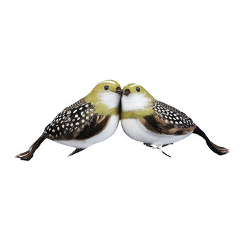Natural Feather Partridge Tree Decoration - Set of 2